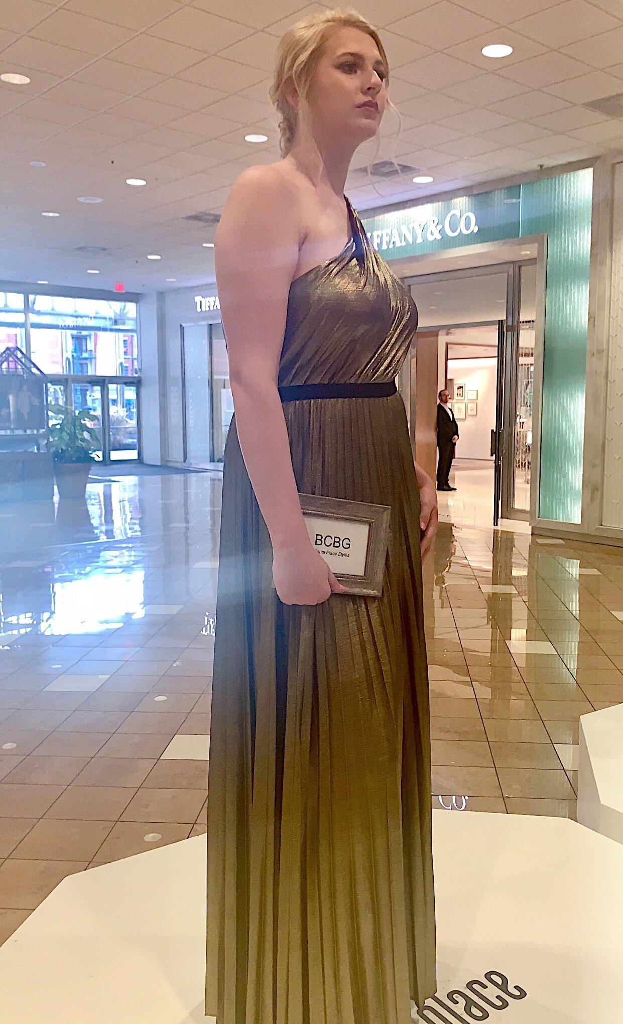 BCBG Maxazaria  Pleat Gown in Metallic Gold