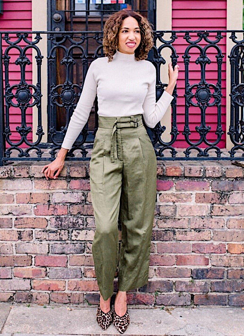 - Sweater: Lucy ParisPants: Sandro (last season)Shoes: Rebecca Minkoff (last season)Get the look below: