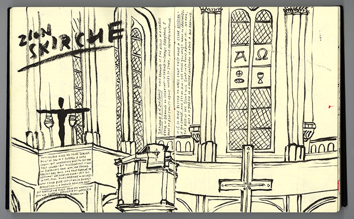 Sketchbook drawing at Zionskirche- Where Dietrich served as a pastor in Berlin. March 2016.