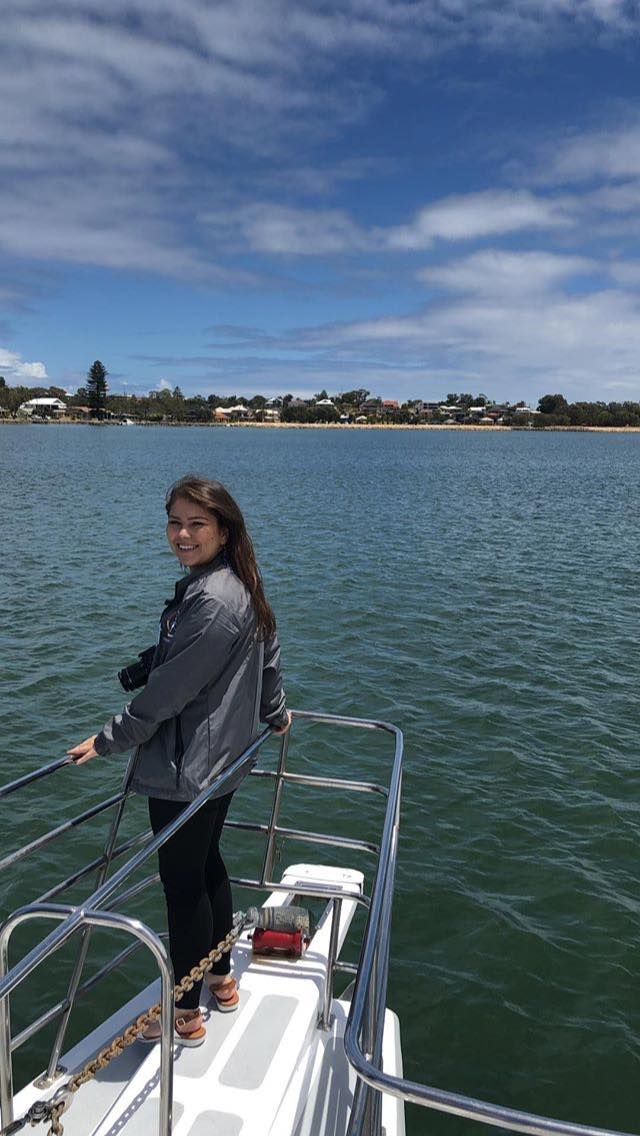 Picture of Jasmine on the boat on the Mandurah