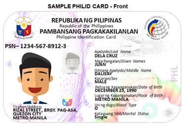Example identification card . Accessed Nov 06, 2018. Source: Philippine Statistics Authority.