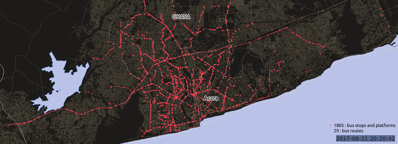 Mapping commuter routes in Ghana.    Source   : Accra Mobility