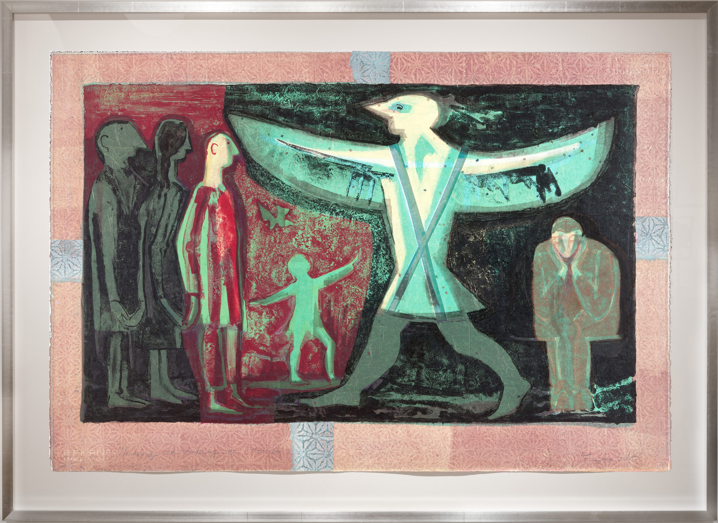 """Wandering & Wondering  (1990) Monotype on Rives paper,  Signed L/R (titled L/L, annotated """"Monotype"""" L/C)  Sheet size: 30 x 44"""" Framed: 37.25 x 51.5"""""""