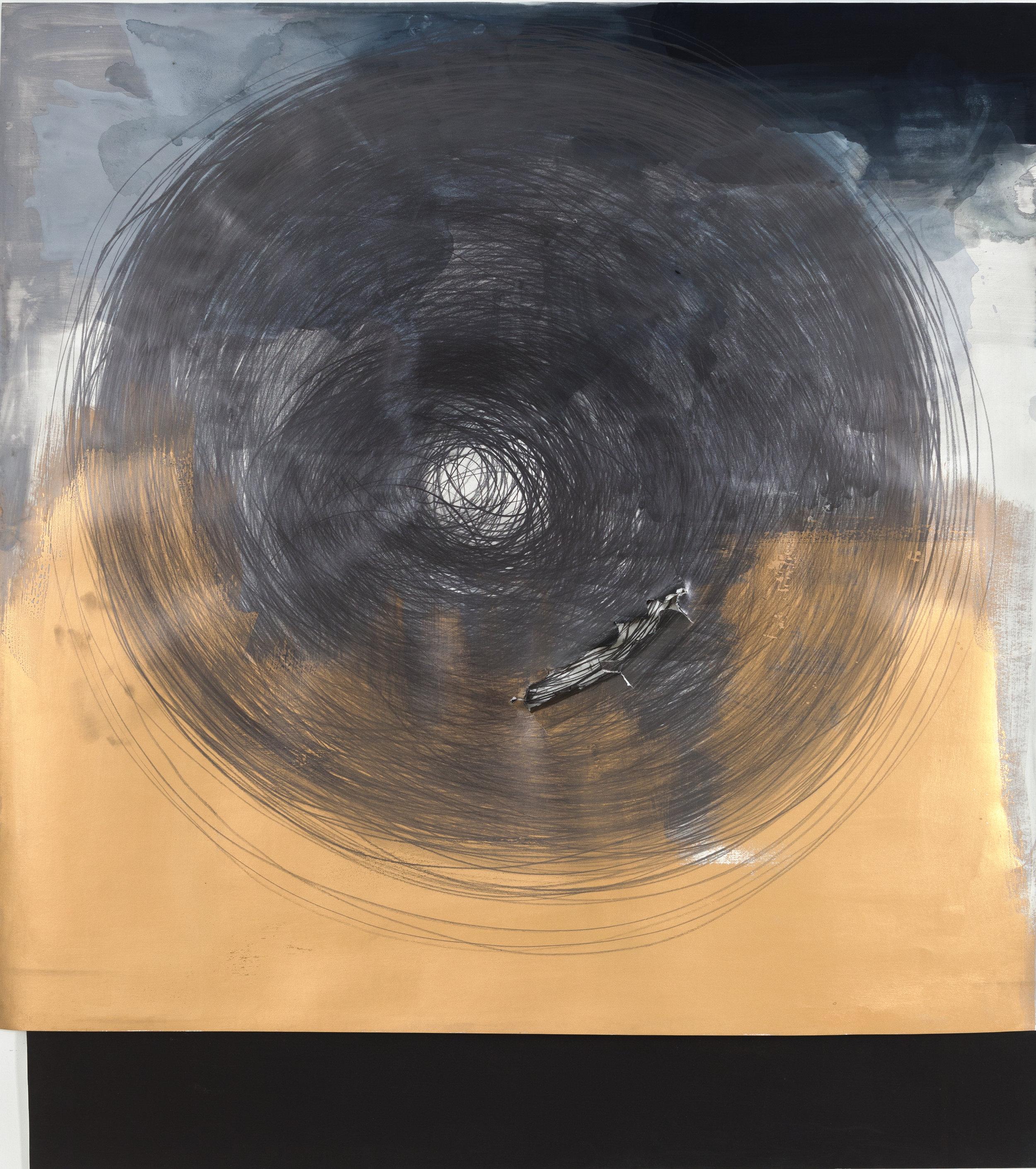Circle Drawing: Gold / Grey-Blue Watercolor, 1hour 22minutes (2018)