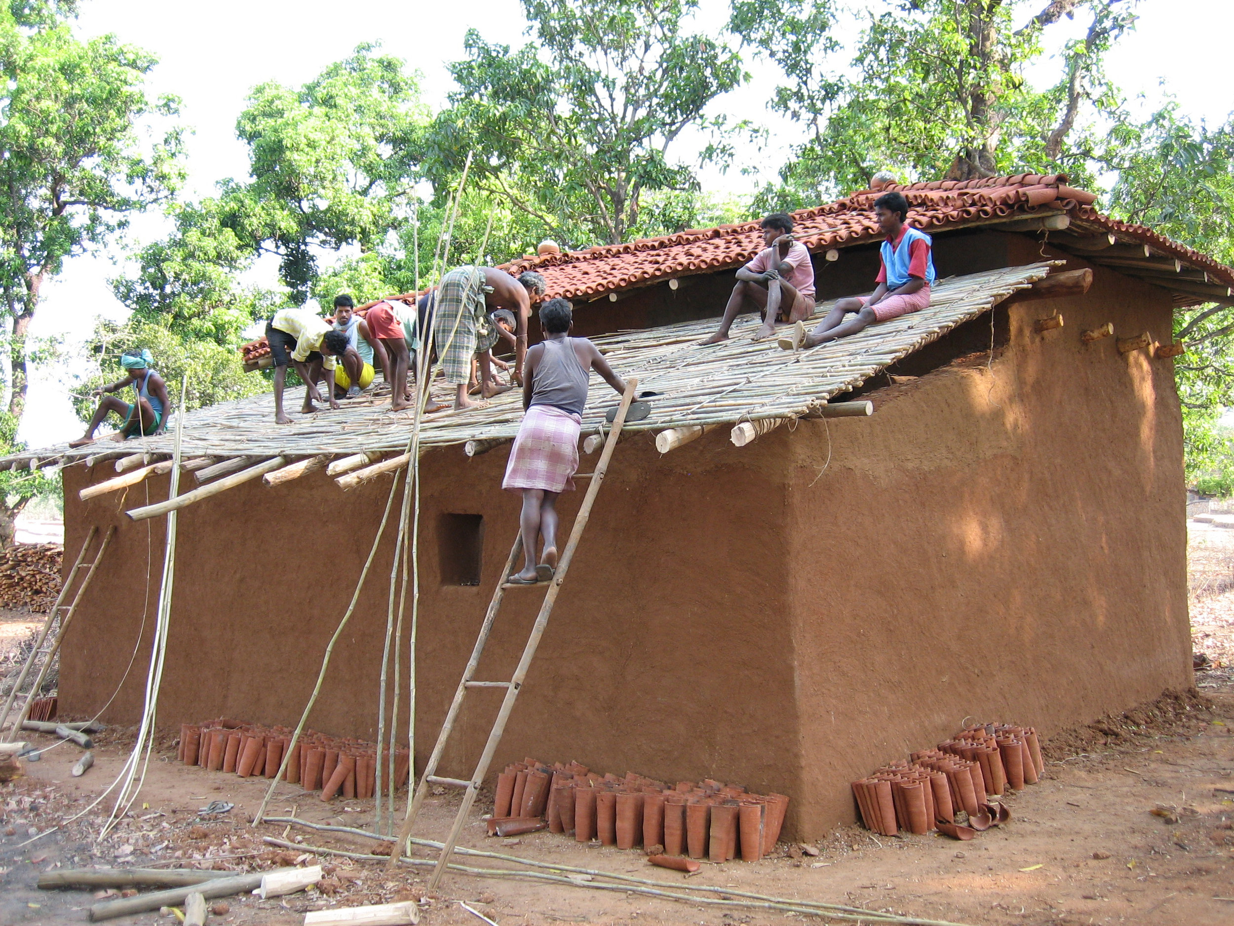 C10 Oraon Adivasis sharing labour to build a house.jpg