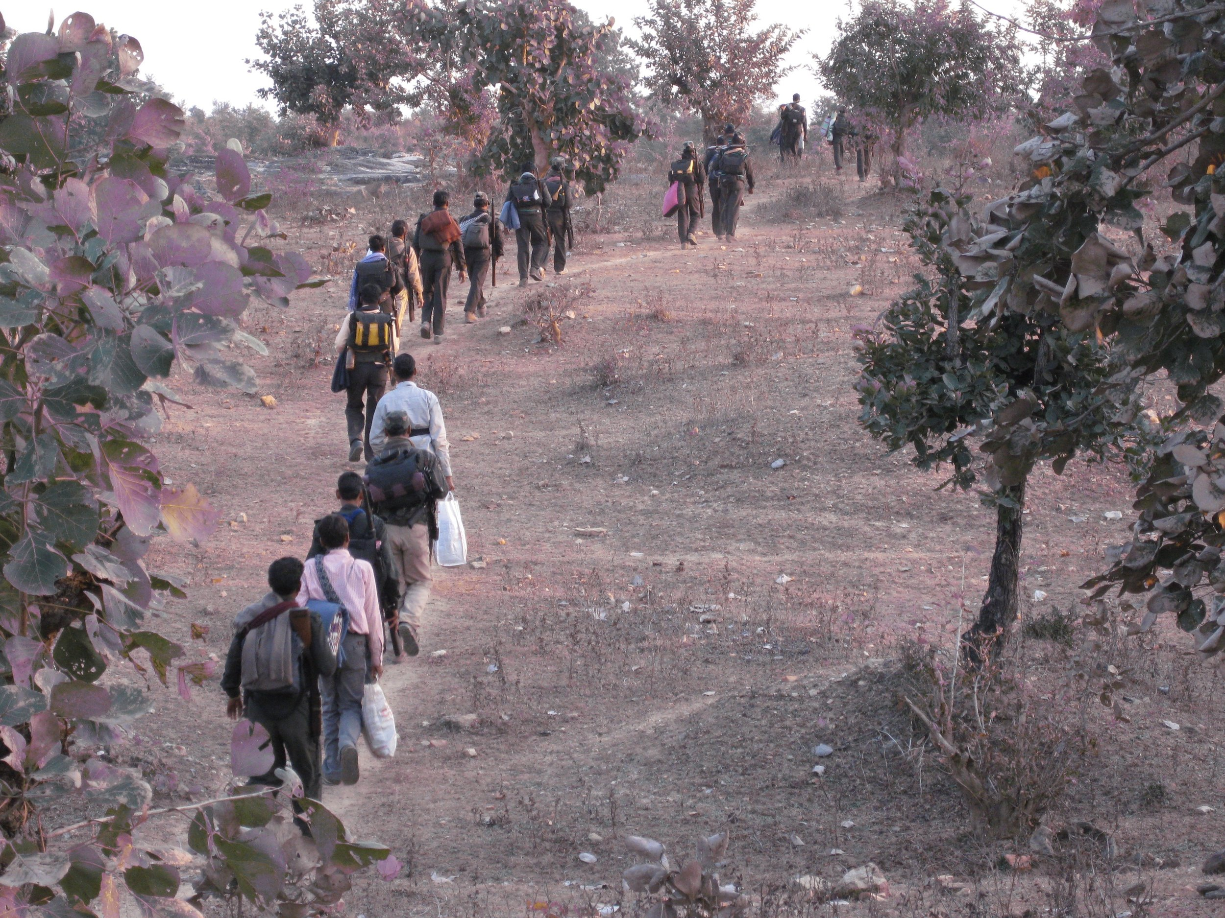 Marching with the guerrilla platoon from Bihar to Jharkhand, 2009.jpg