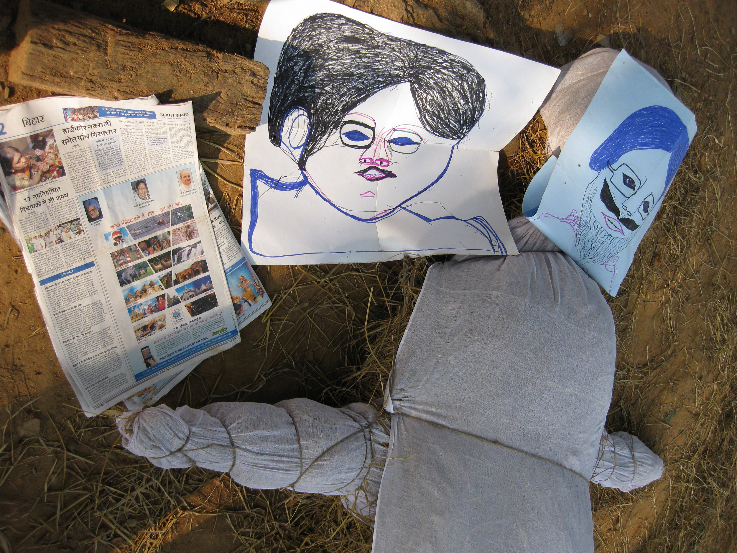 Z4ii Effigies of politicians being made and burnt by Maoist insurgents and villagers 1.jpg