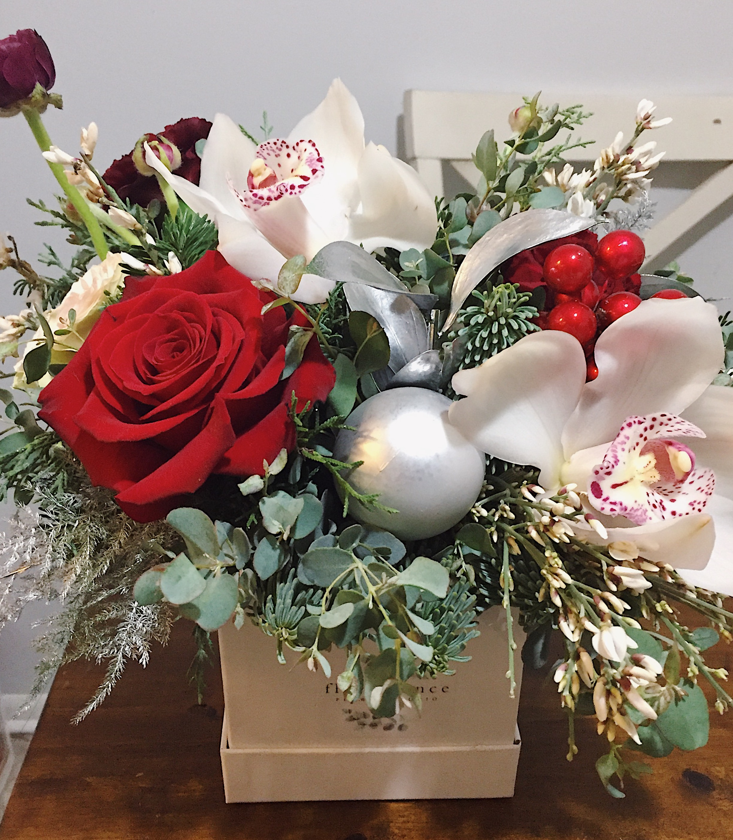 Christmas Flower Box Florescence Flower Studio