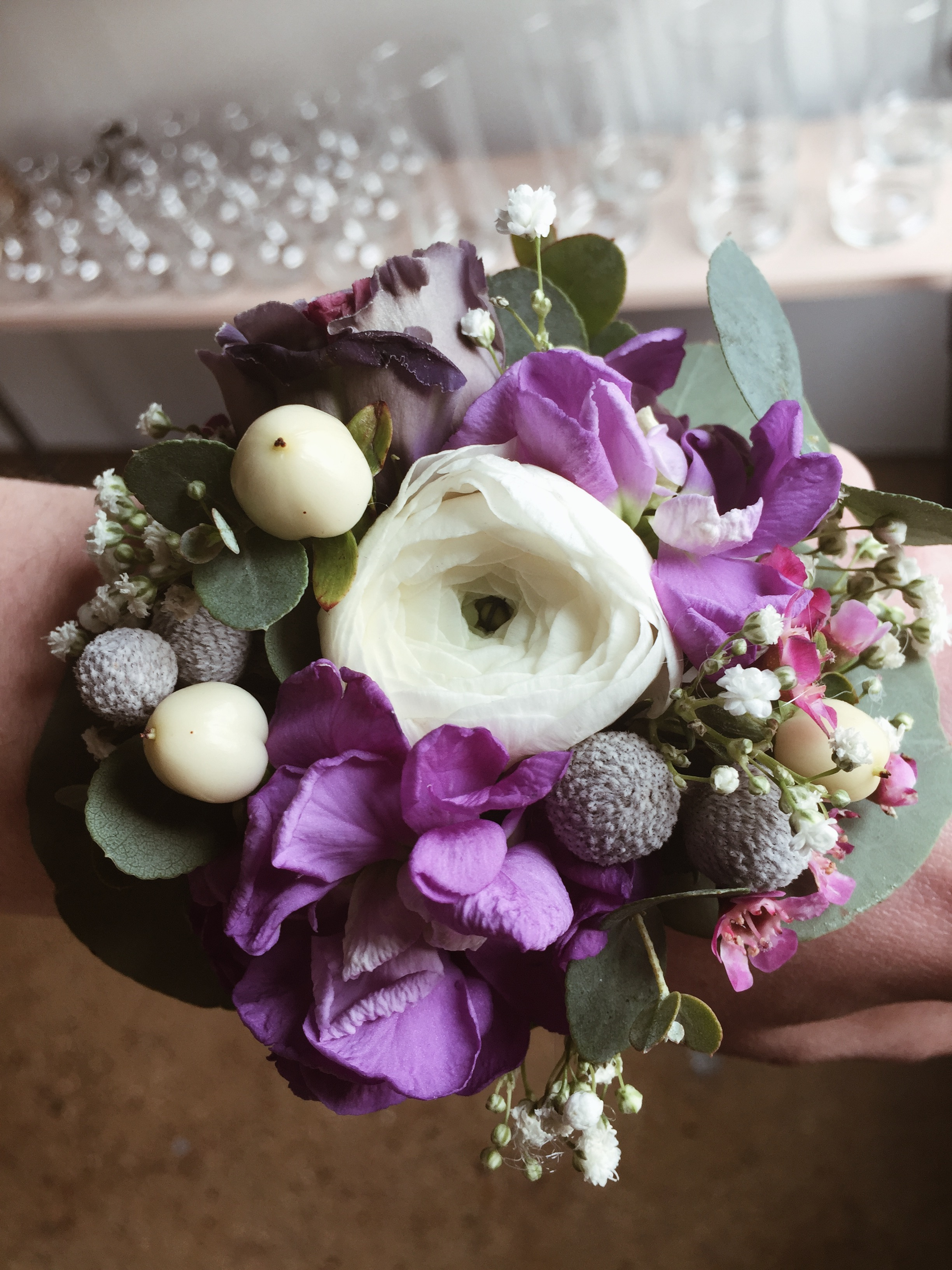 Florescence Corsage purple and white