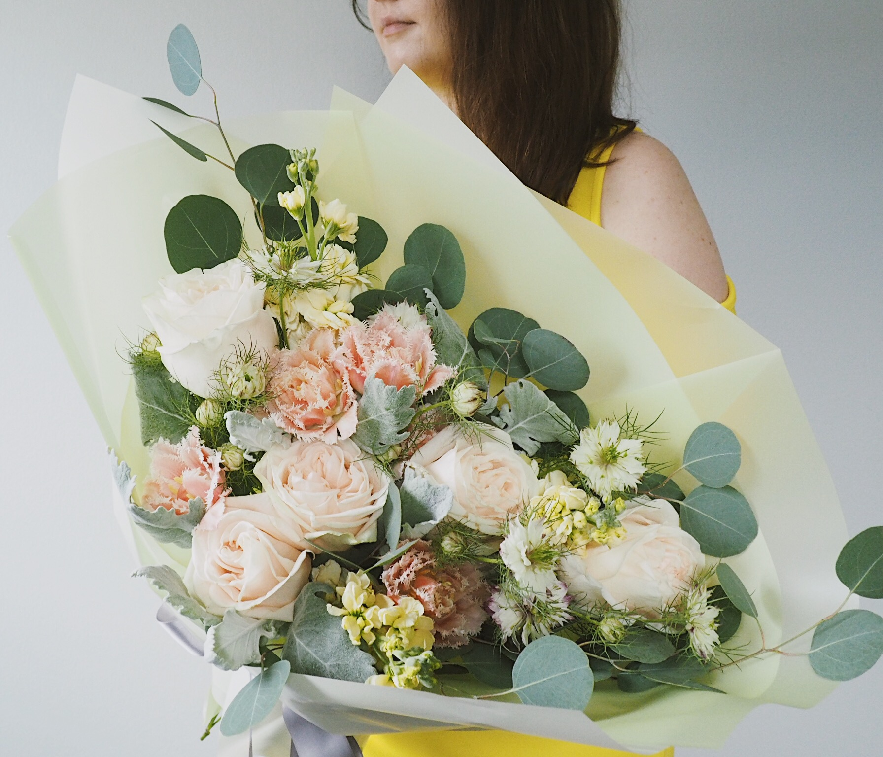 Peachy spring flower bouquet wrap for birthday engagement baby shower