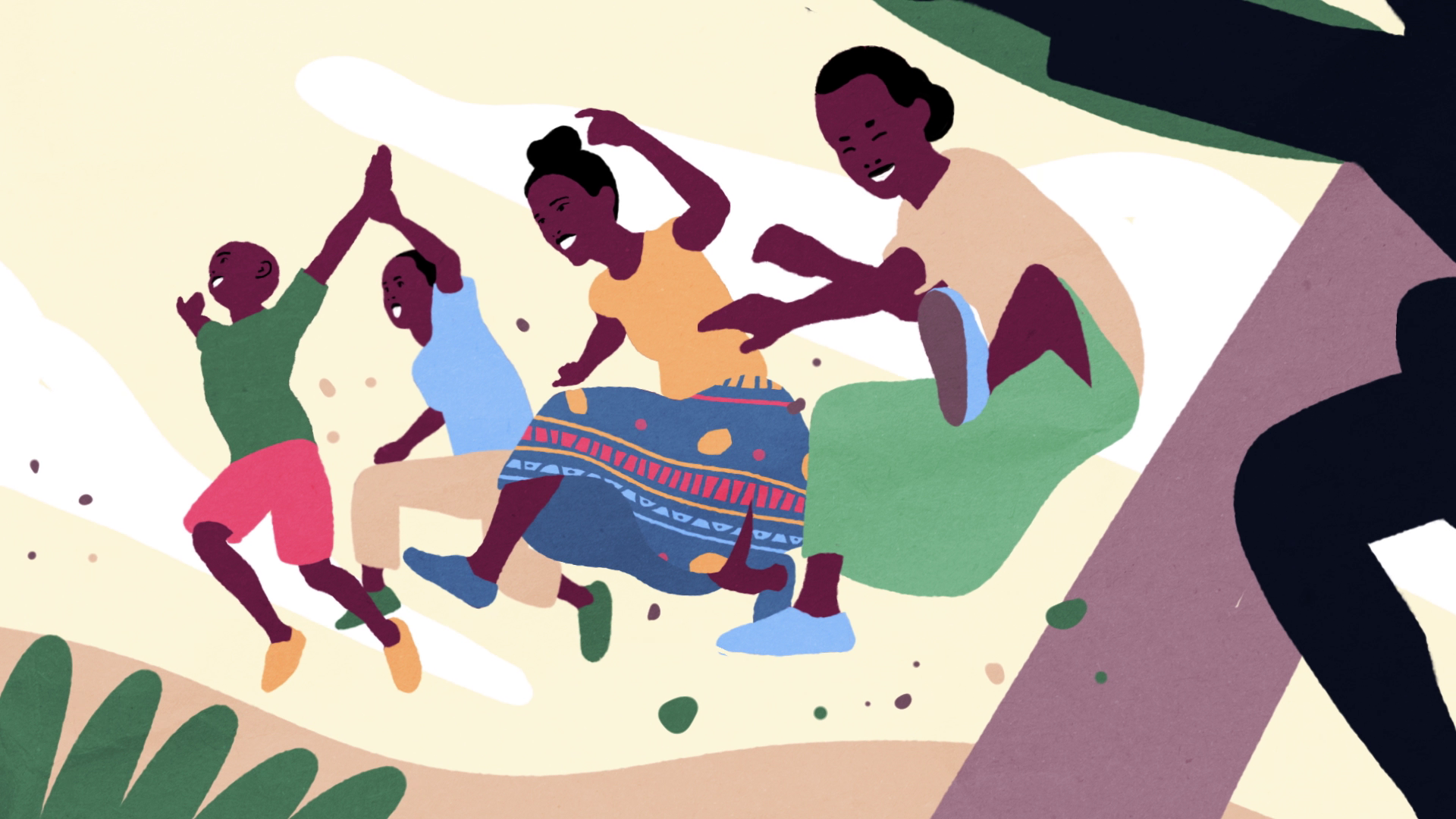animation, two girls and two african boys jumping for joy