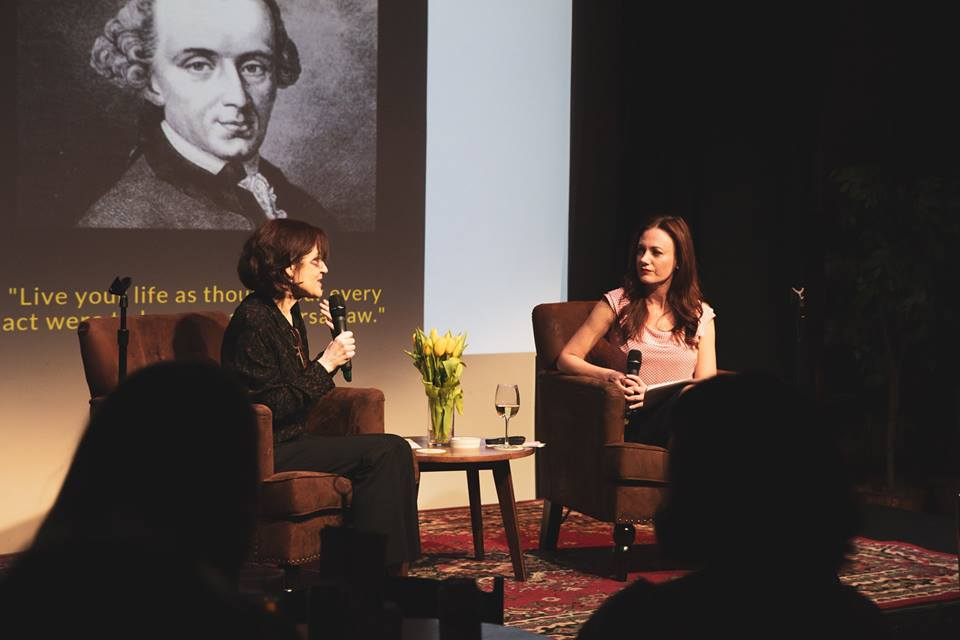 Professor Kathleen Wallace and Monica McCarthy at The Happier Hour / Photo by Liz Magee