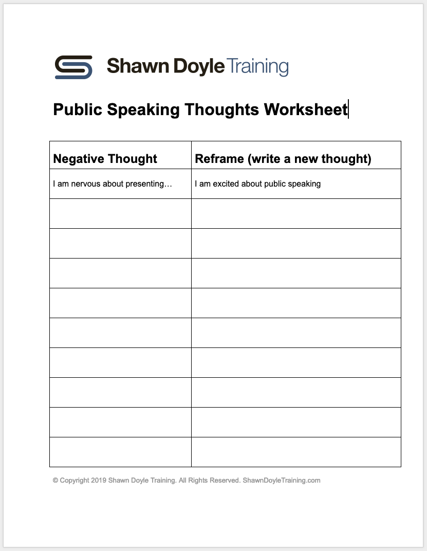 Download Public Speaking Thoughts Worksheet