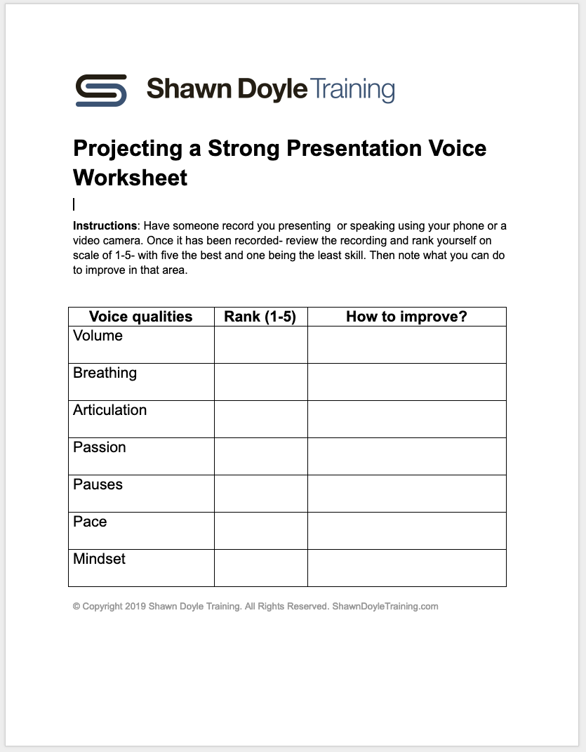 Download Projecting a Strong Presentation Voice Worksheet (PDF)