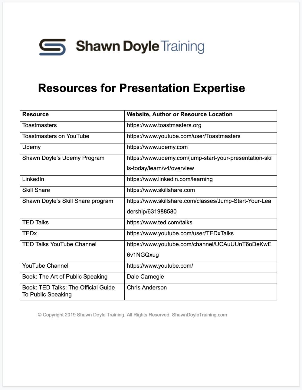 Download Resources for Presentation Expertise Worksheet (PDF)