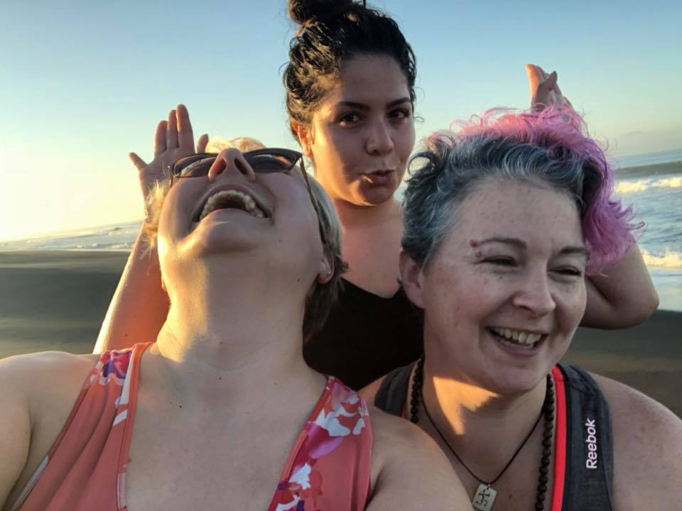 Laura, Athena, and Amanda laughing it up on the beaches of Costa Rica!