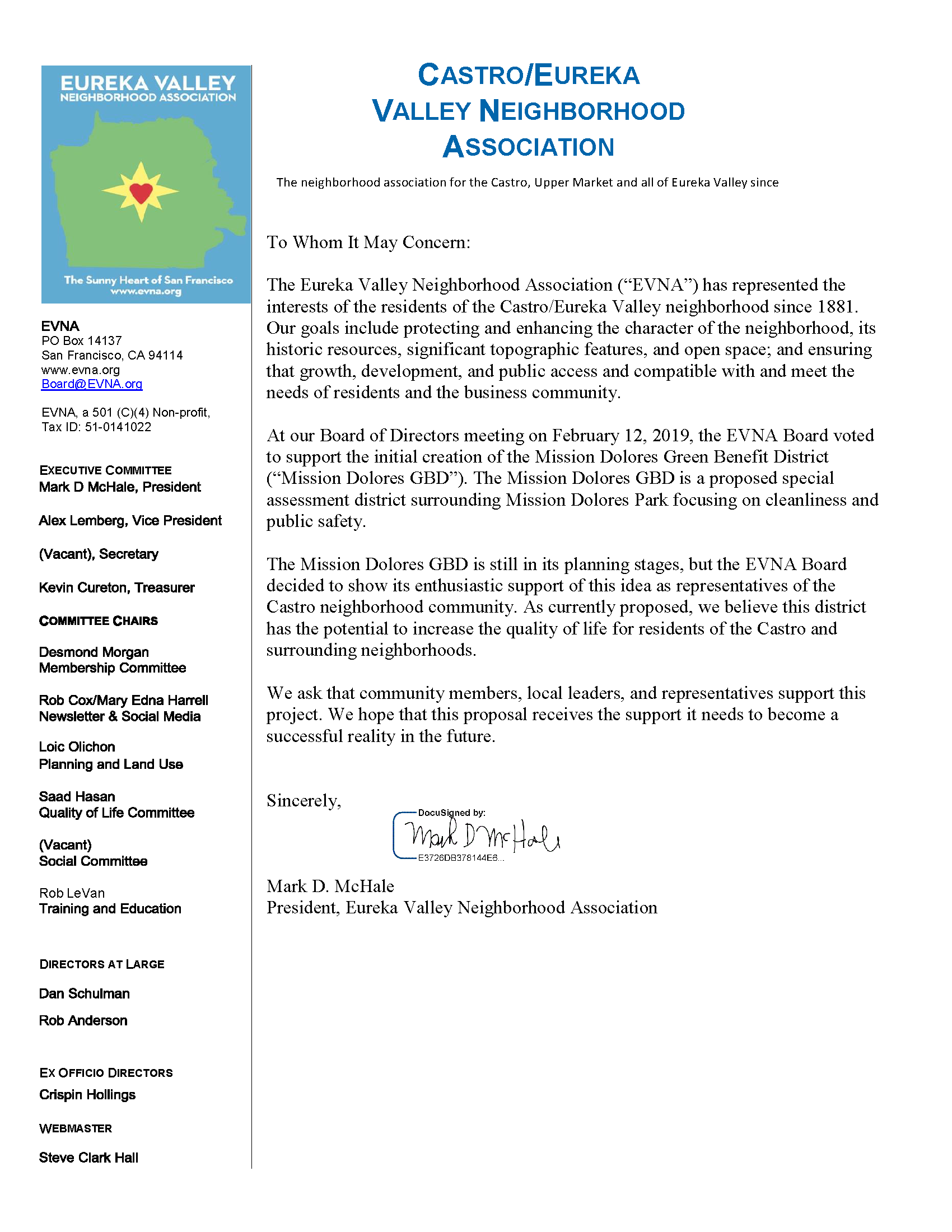 EVNA 2019 Letter of Support - Mission Dolores GBD