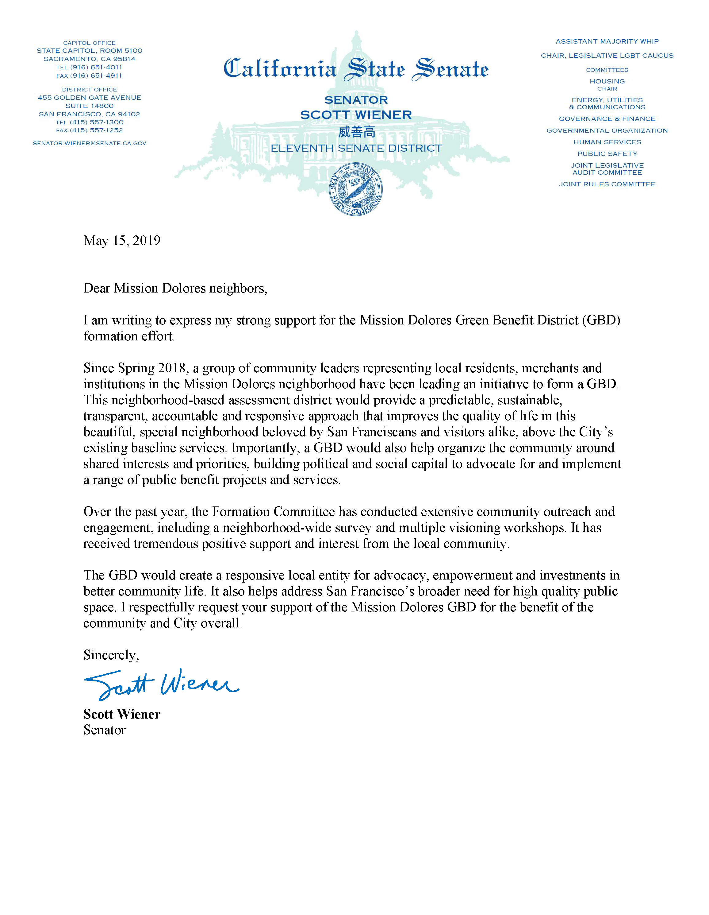 Senator Scott Wiener Letter of Support