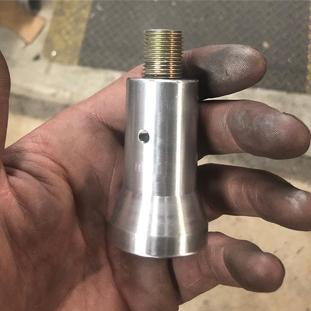 Custom shift knob adapter for the 2017 Nissan Sentra. It covers the lockout, and can be made with any sized thread depending on the shift knob you'd like to use! #nissan #sentra #manual #6speed #aluminum #billet #machining #shiftknob #adapter #bdrfab #custom #powdercoat