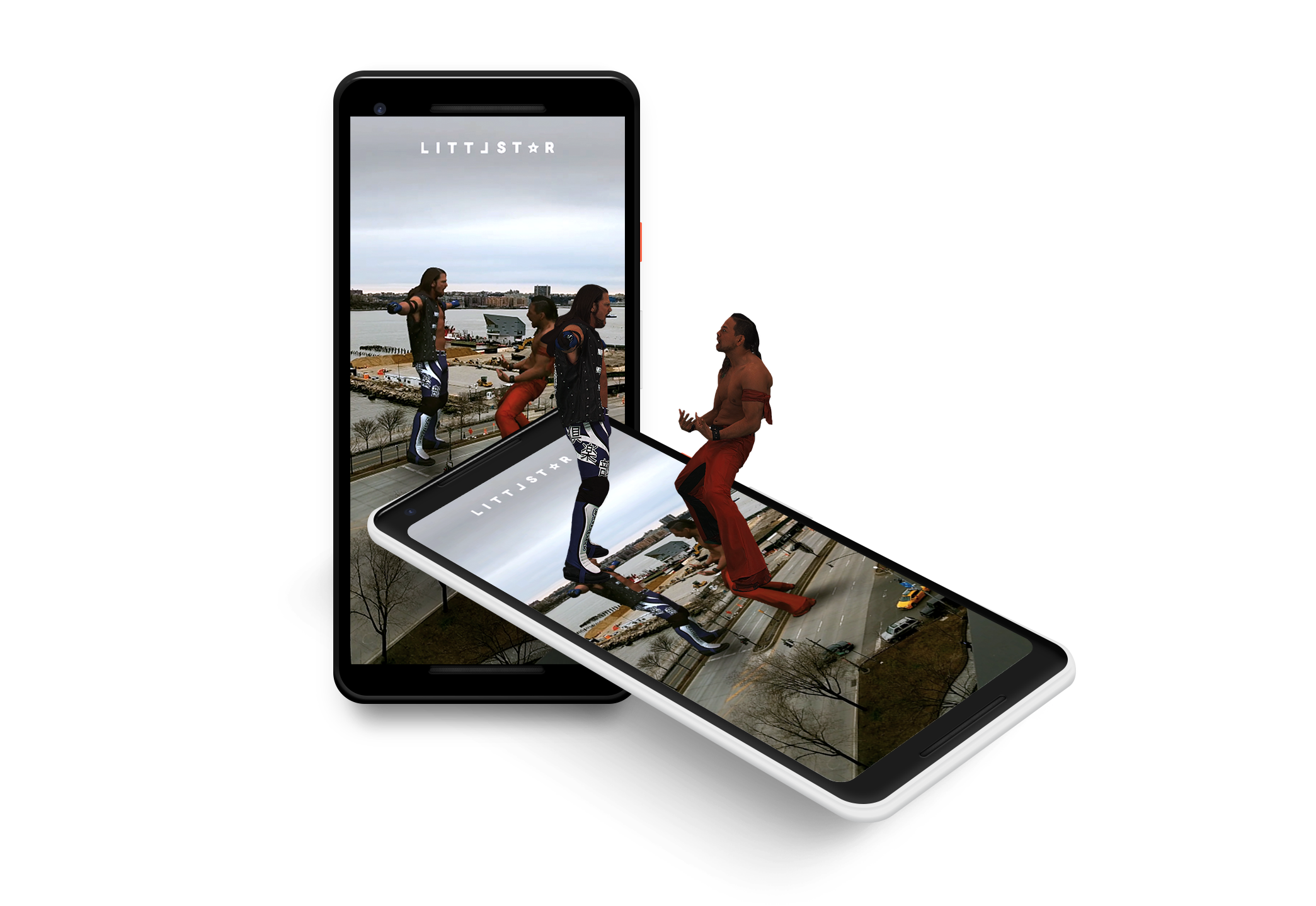 WWE AR Camera featuring title fighters AJ Styles +Shinsuke Nakamura -