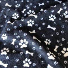 Black Paw and Bone Print Fleece
