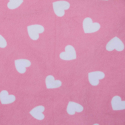 Baby Pink and White Love Heart Fleece