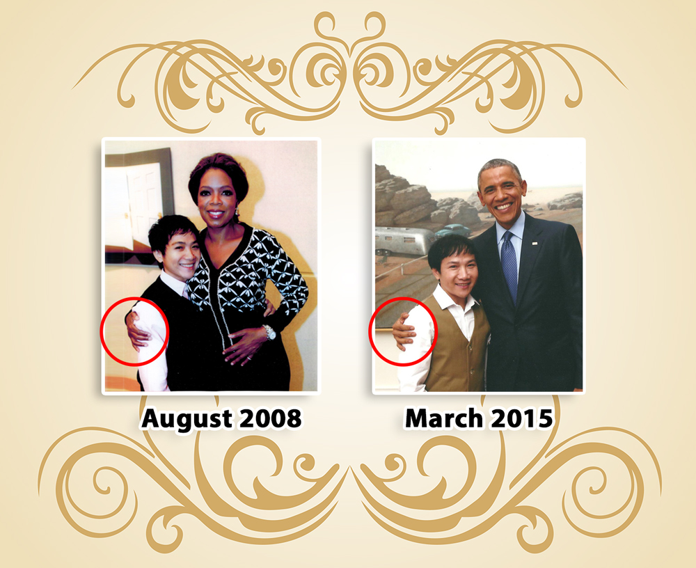 When Daniel had the pleasure of meeting two most well respected famous people in the world, he knew he had to take pictures with them. Looking back at the pictures with Oprah and Obama, he utterly unexpected notices the way they held him with the position of the hand captures. Daniel believed there was connections that he felt Love, Joy, Peace, Positive, Unity, and full of energy.