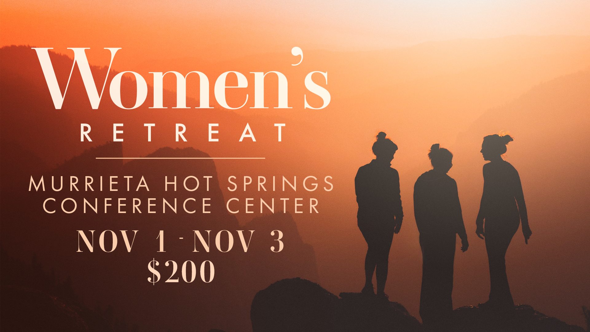 Come join other women from New Vision as we experience enriching fellowship and deep life-change at gorgeous Murrieta Hot Springs. November 1 - 3, 2019. $200 ($50 deposit due at sign-up)