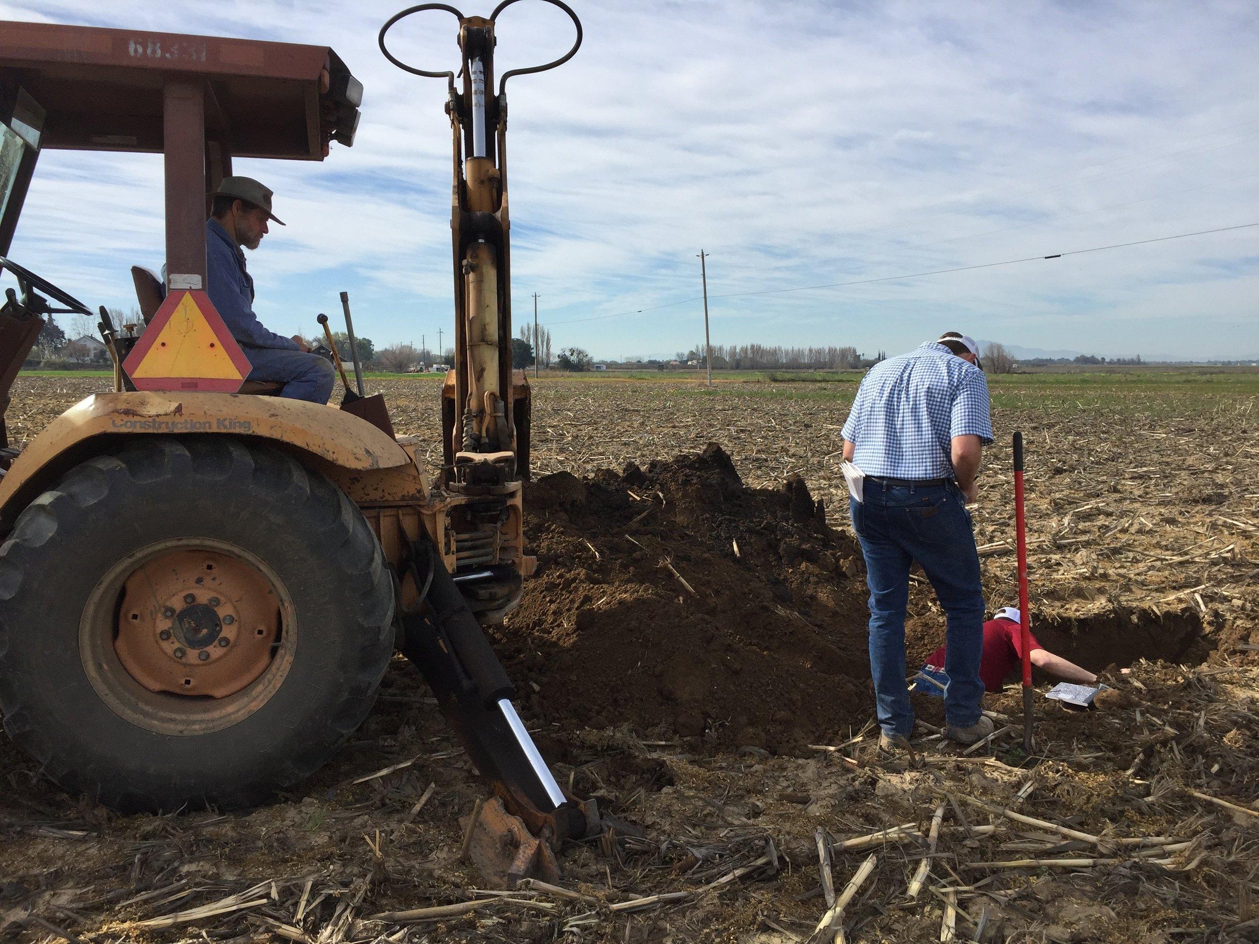Digging holes to take soil samples