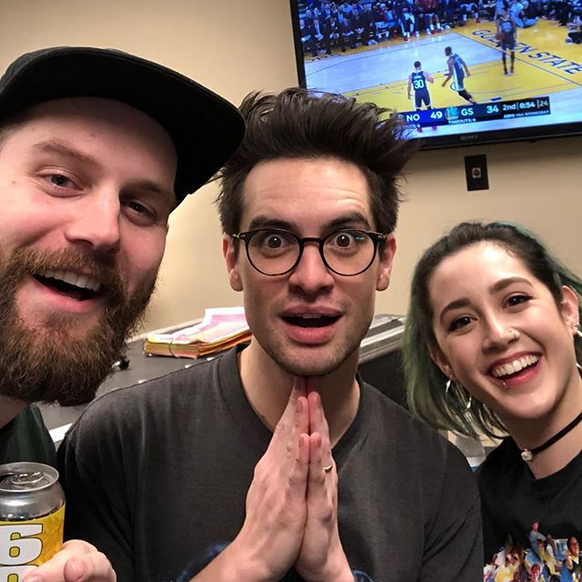 ‪Brendon with @chrismelberger! ‬ ‪#PFTWTourBrooklyn ‬#brendonurie #panicatthedisco