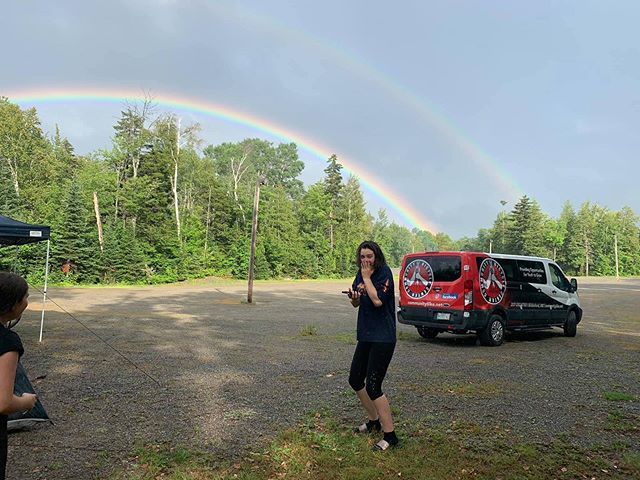 Double-rainbows always lead to good things 🌈 Excited to do some trail-building and exploring in @freemanridgebike today!  #doublerainbow #mainekids #vanlife #youthempowerment