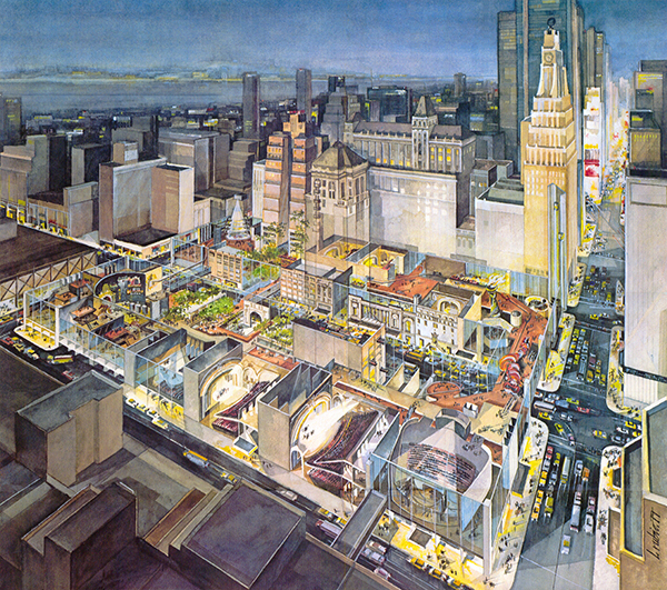 """The City at 42nd Street"" was a vision for an entertainment-themed development on 42nd Street. This option was presented to Mayor Koch as a solution to the troubles on 42nd Street. He chose to take another path. Credit: Chermayeff & Geismar & Haviv"