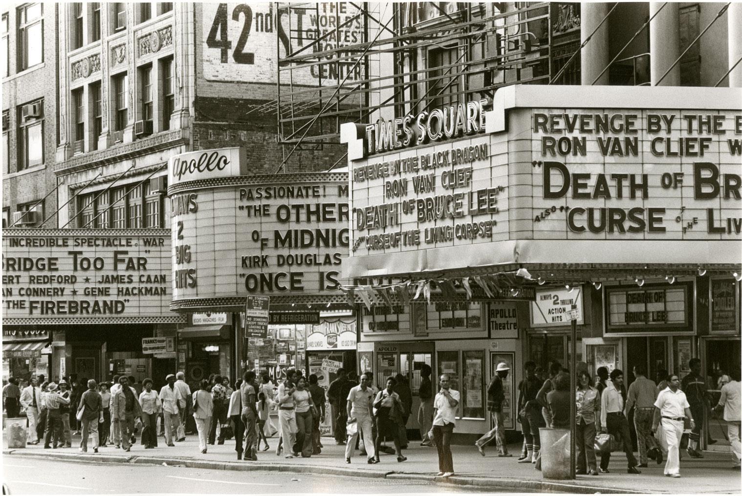 The Apollo and Times Square Theatres, circa 1977. Credit: New York Historical Society