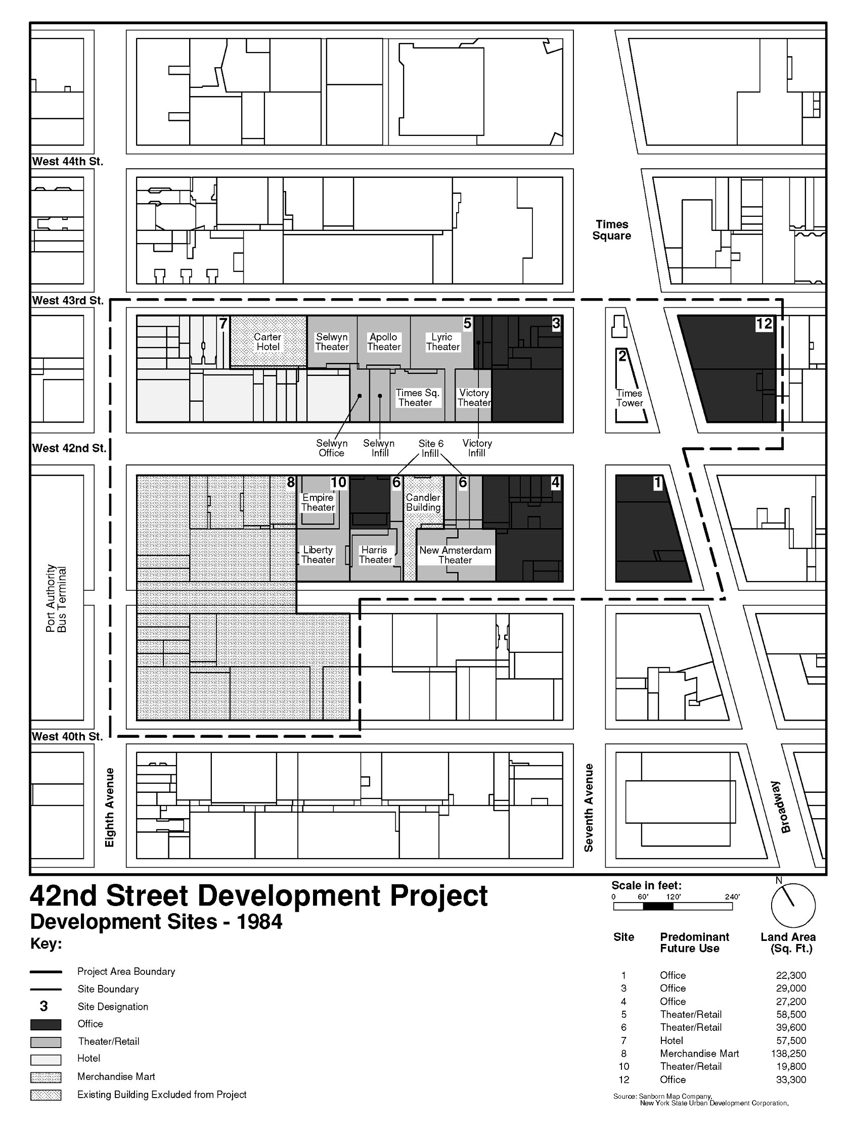 Map of the development sites for the 42nd Street Development Project.