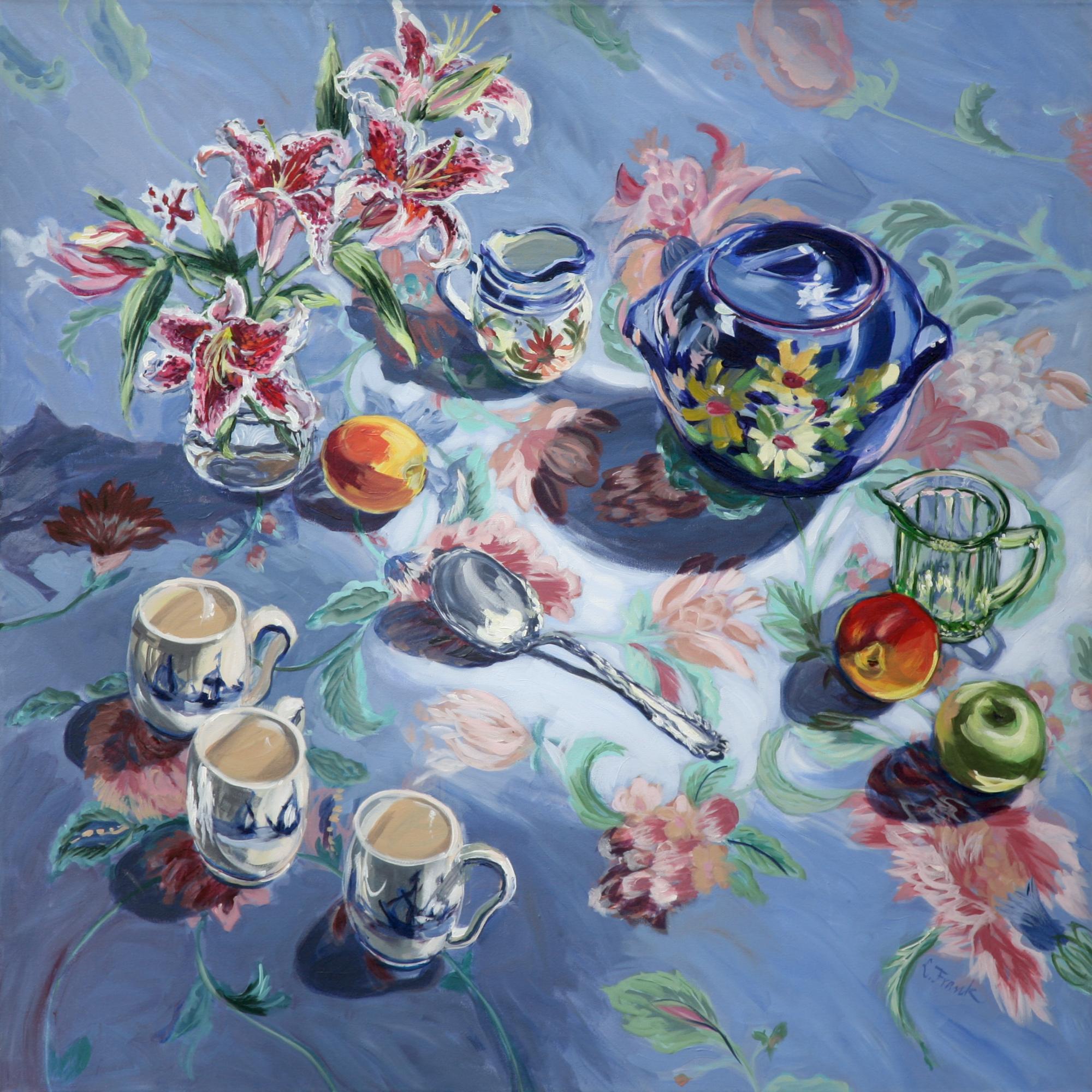 Lilies & Blue Cookie Jar