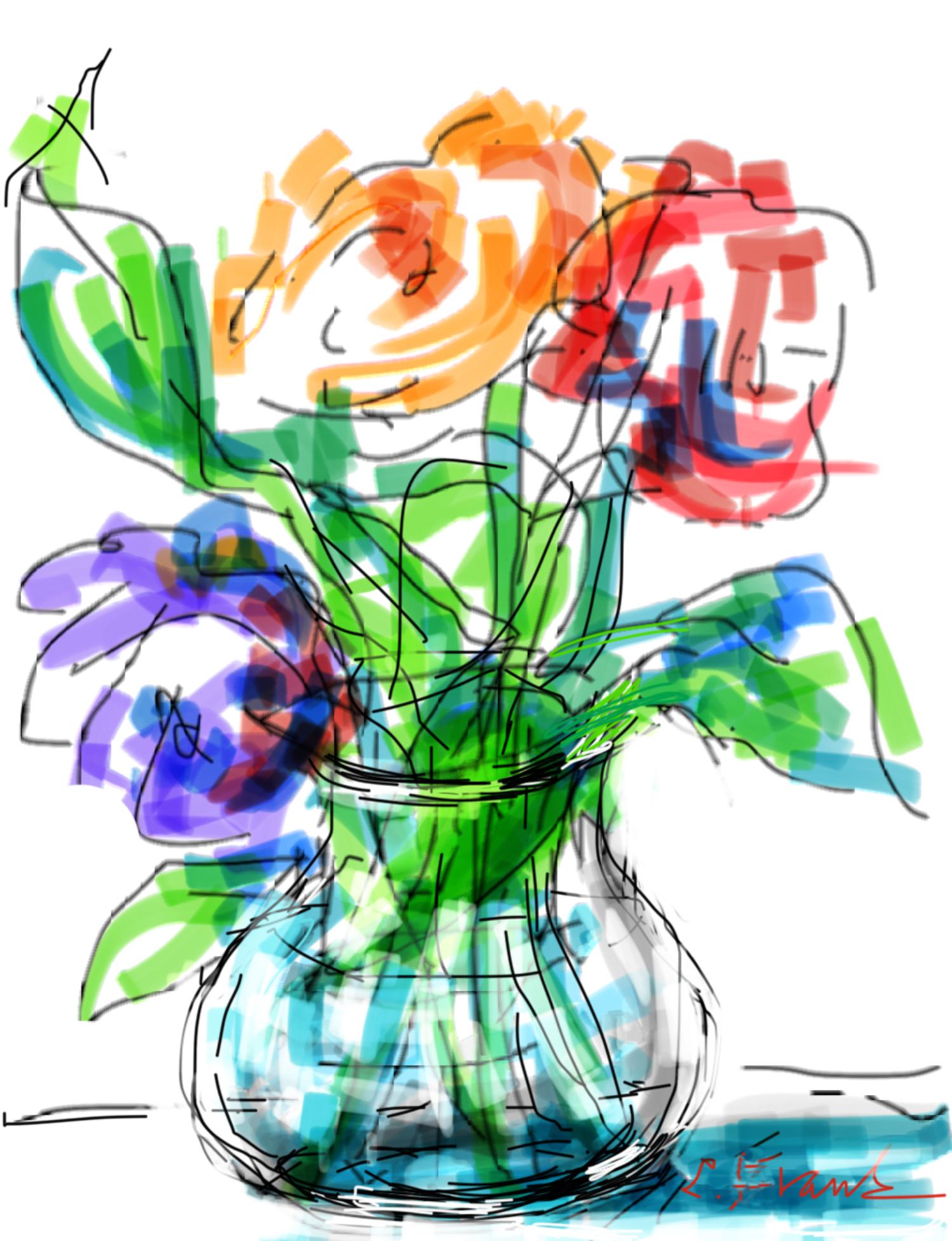 Whimsical Flowers in Vase