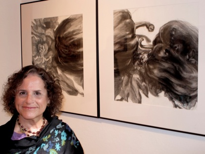 "September 2011 - On the basis of her charcoal diptych drawing, ""Three Peppers,"" Leona is awarded a solo exhibition at John Slade Ely House in New Haven, CT to take place in September 2012, New Haven Paint & Clay Club."
