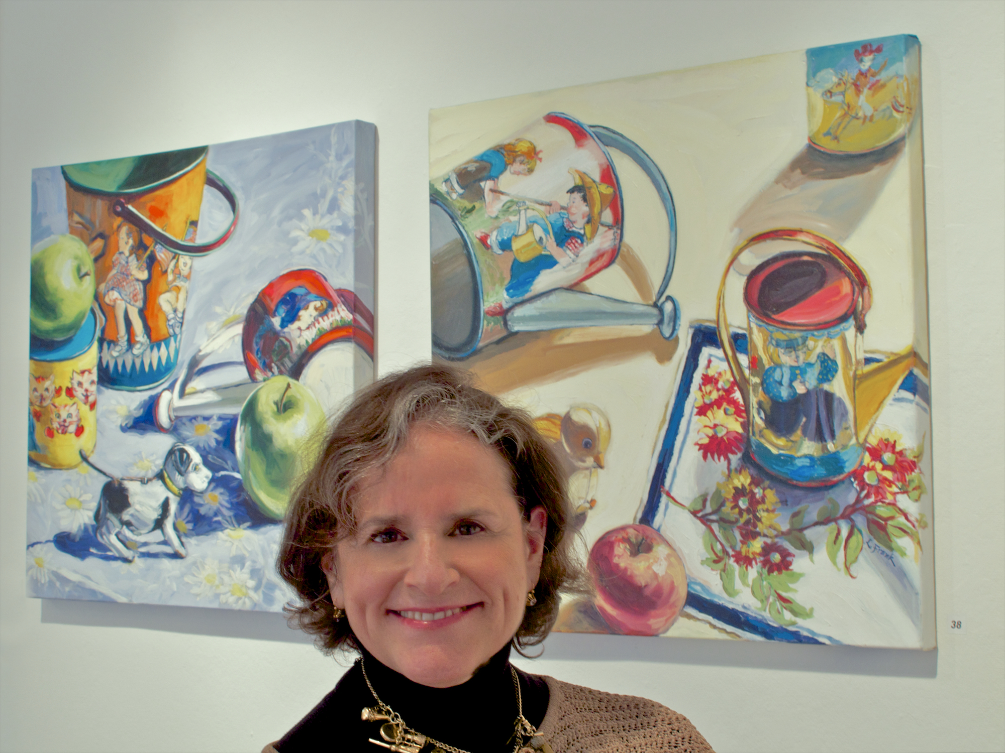 April 2014 - Two of Leona's vintage toy still lifes are accepted into New Haven Paint & Clay's 113th Annual Juried Open Exhibition by juror Douglas Hyland, Director of the New Britain Museum of American Art.