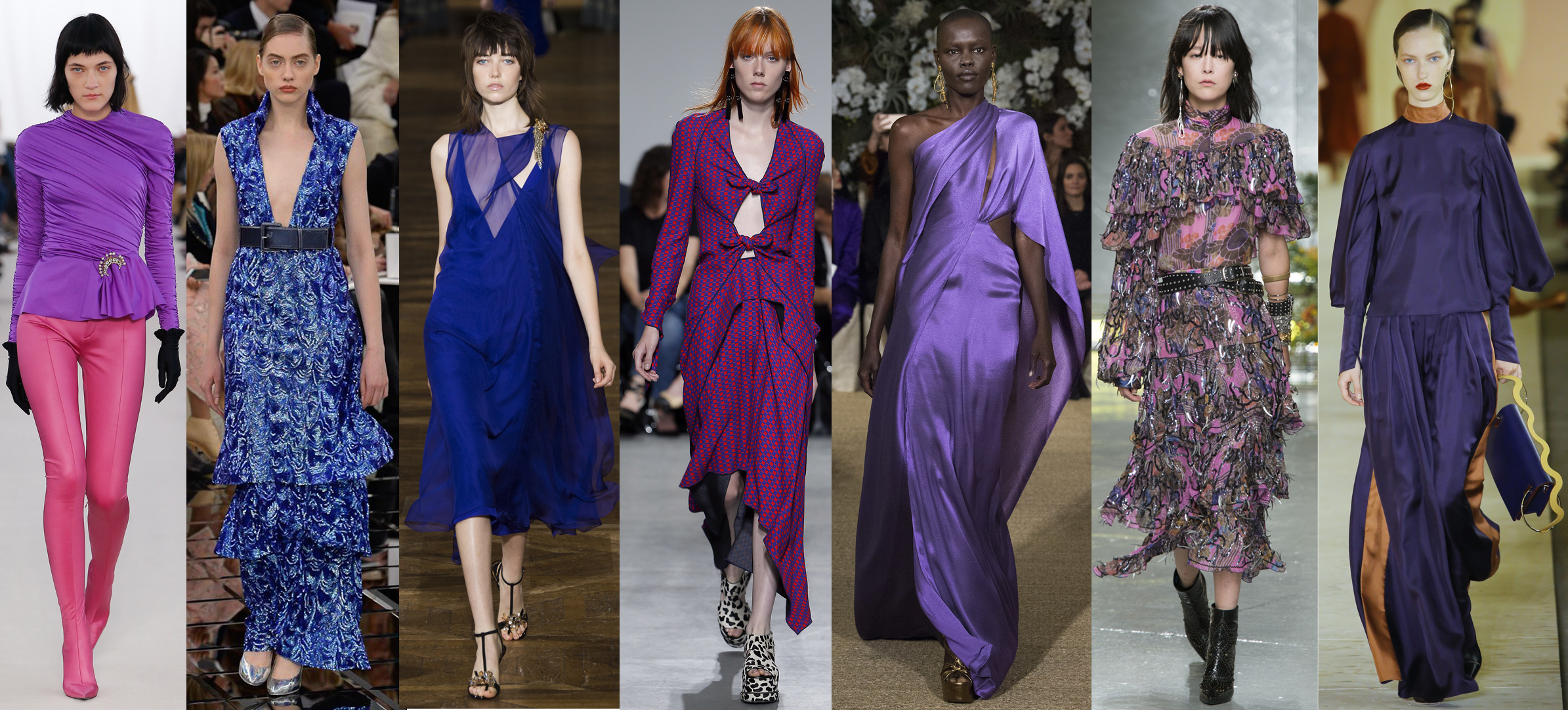 Left to Right: Balenciaga RTW SS17, Chanel Spring 17 Couture, Lanvin RTW SS17, Proenza Schouler RTW SS17, Ralph Lauren RTW SS17, Rodarte RTW SS17, Roksanda RTW SS17