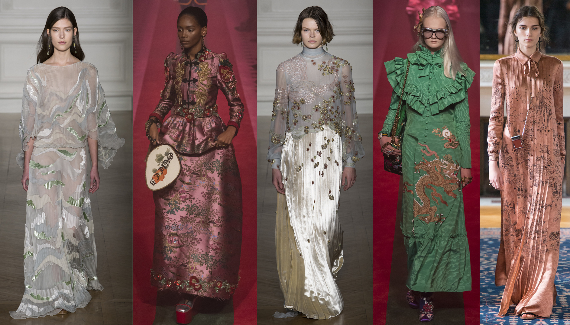 Left to Right: Valentino Spring 17 Couture, Gucci RTW SS17, Valentino Spring 17 Couture, Gucci RTW SS17, Valentino RTW SS17