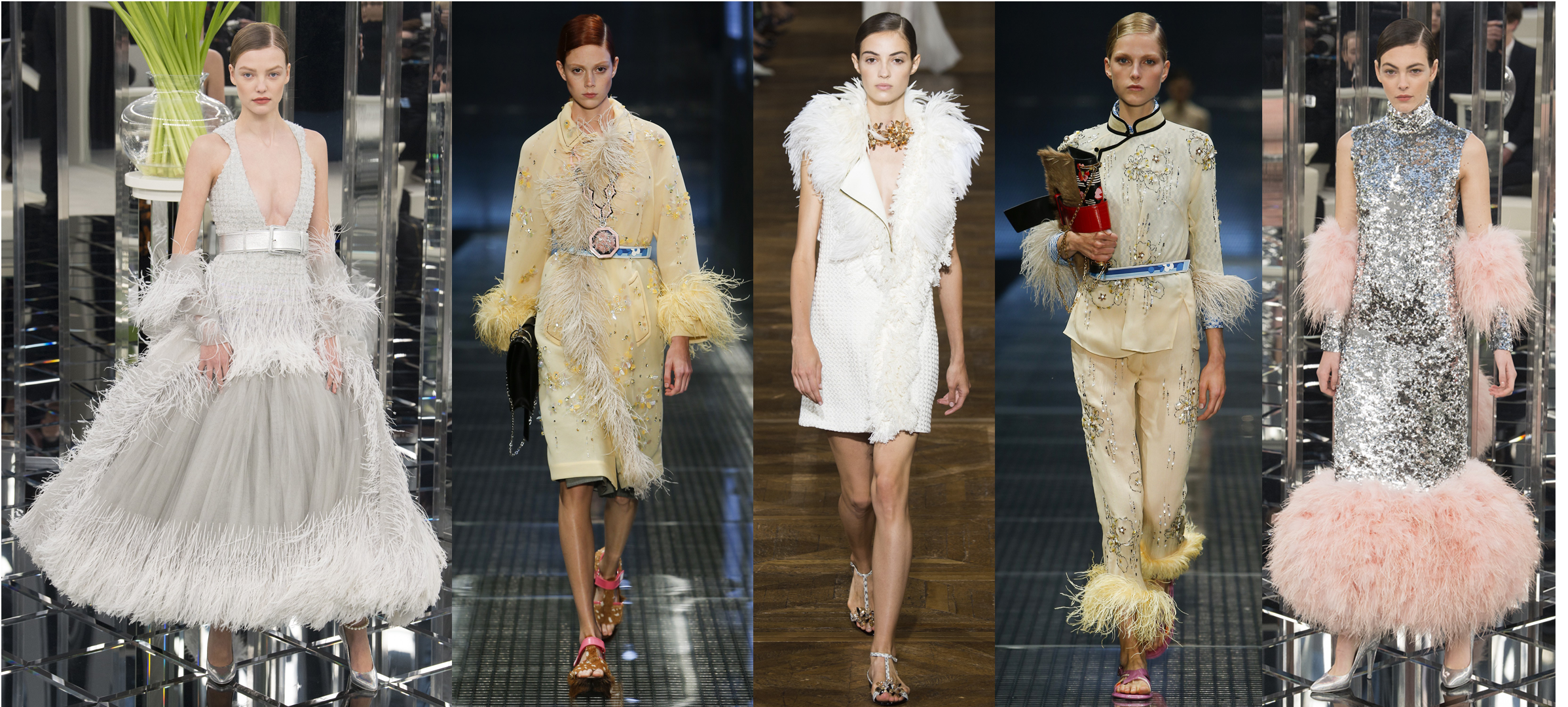 Left to Right: Chanel Spring 17 Couture, Prada RTW SS17, Lanvin RTW SS17, Prada RTW SS17, Chanel Spring 17 Couture