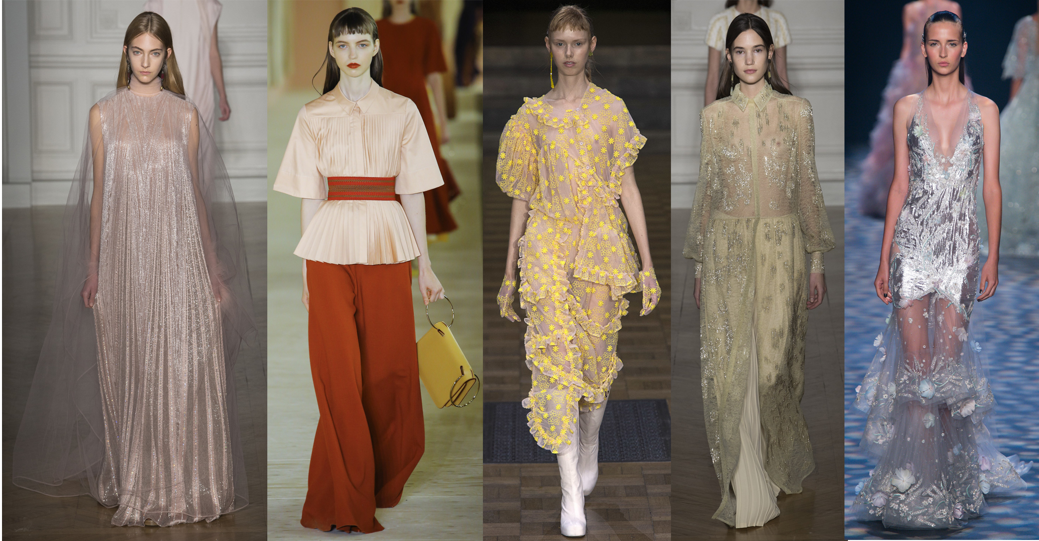 Left to Right: Valentino Spring 17 Couture, Roksanda RTW SS17, Simone Rocha RTW SS17, Valentino Spring 17 Couture, Marchesa RTW SS17