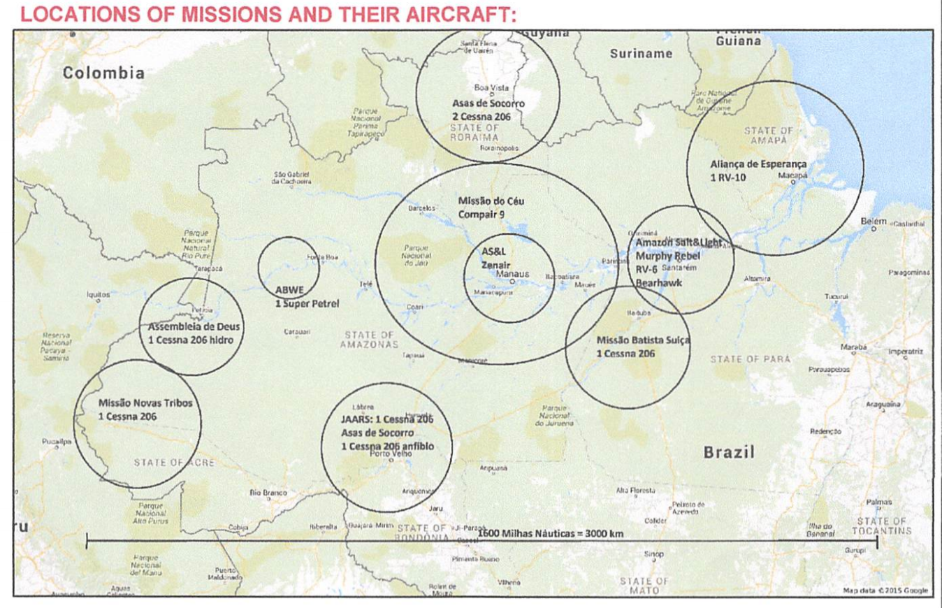 This image shows the current state of aviation in the Amazon region in Brazil. As you can see, it doesn't cover much of the region, and the resources there that do cover parts of the region are slim. You will notice that many of the groups consist of just one aircraft to cover massive swaths of land.