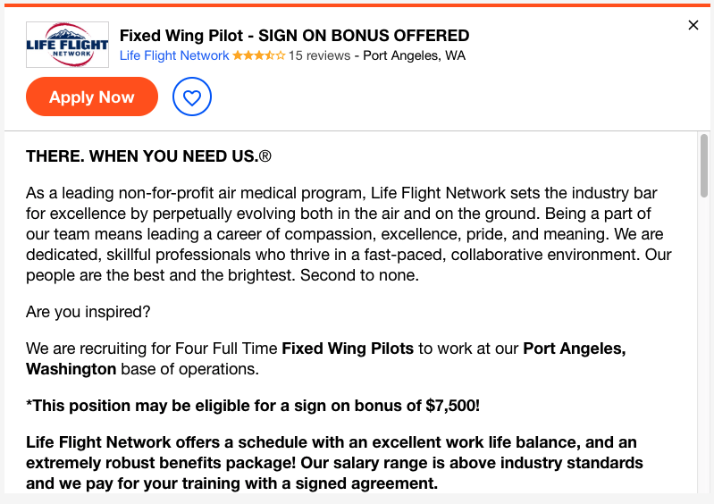 Typical pilot job advertisement that took me less than 2 minutes to find online.