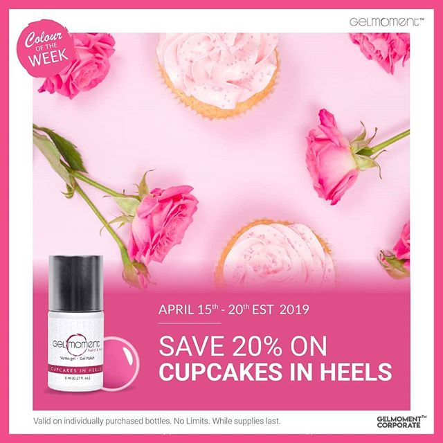 Cupcake in Heels is our Colour of the Week for Week 3 of Dov's BIRTHDAY BASH! Delectable and lovely in every way, this sweet fuchsia-pink serves up a decadently sensuous manicure that'll have them begging for the crumbs of your affection at a savings of 20% offthis week only, April 15th through April 20th.  #gelmanicure #gelmomentaddict #independentdistributor #GelMoment #naildesigns #pink #hothothot #happybirthday #birthdaybash #deals #save #vegan #vegannails #veganfriendly #crueltyfree #nontoxicnails #nontoxic #nonasties