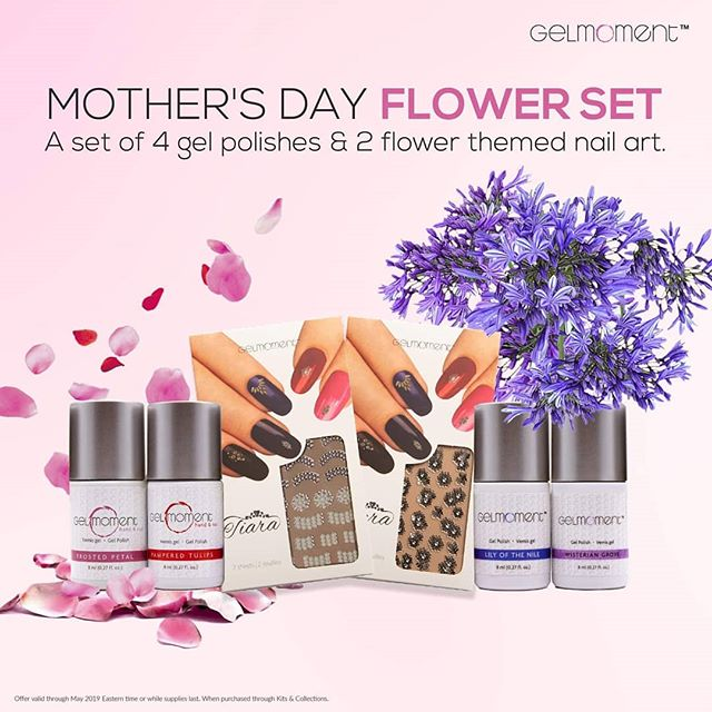Treat Mum (or yourself) with this blooming selection of GelMoment colours and accessories this Mother's Day! This set is available at a 10% savings for the four gel polishes and we've thrown in the Nail Art decals for FREE!  Mother's Day Flower Set Includes:  Pampered tulips Wisterian Grove  Lily of the Nile Frosted Petal Lacey Flowers Nail Art Decals Czarina Nail Art Decals  All for $118.08 AUD  Mum will Love it!  https://choicesforchange.gelmoment.com/products/product-kit/347/ *Available only until stocks last. All prices in AUD.  #mothersday #deals #gelmanicure #GelMoment #independentdistributor #flowers  #nailsofinstagram #ditchthesalon #diynails #vegan #crueltyfree #nontoxicnails #nontoxic #kidsafe #ecofriendlyproducts #awesomeproducts