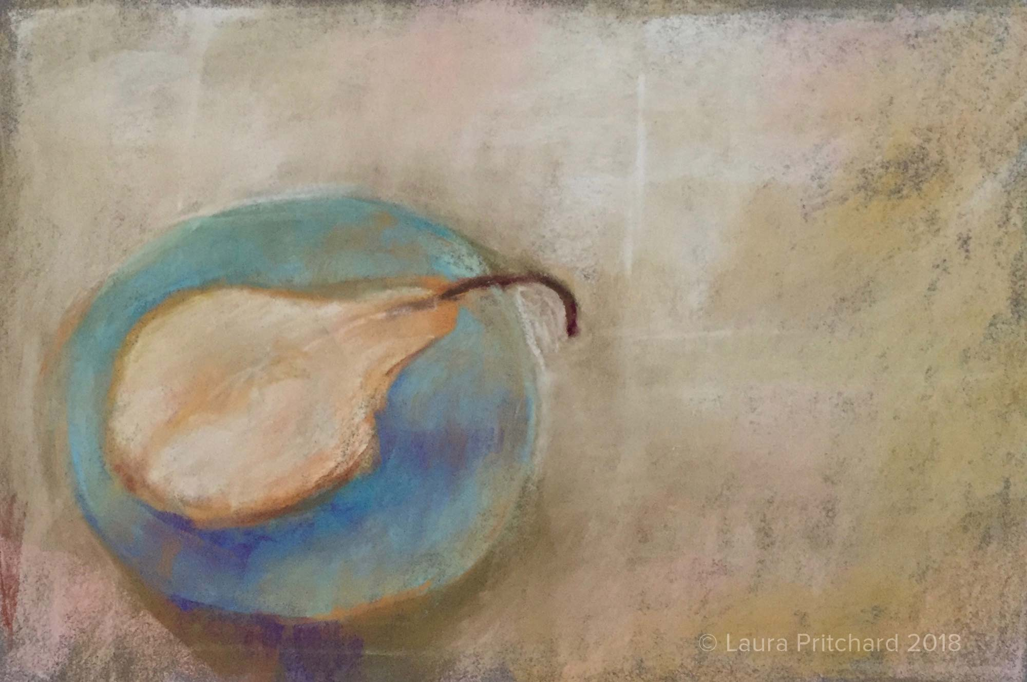 2016. Pear on blue saucer.