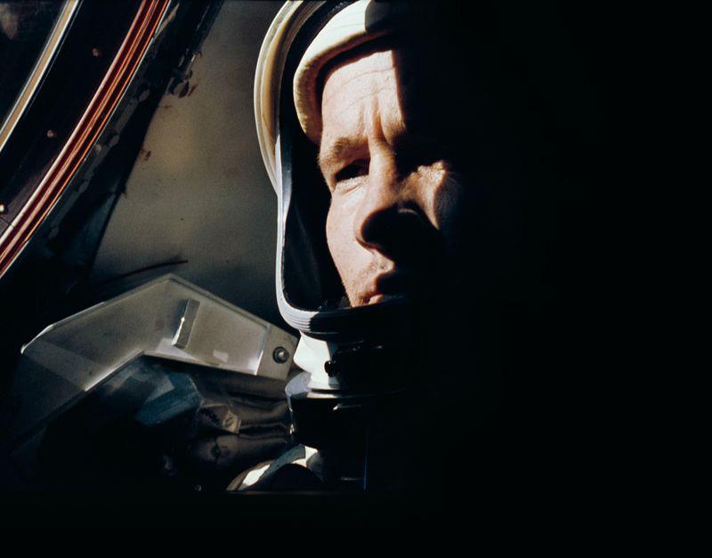 Ed White photographed by Gemini 4 Commander Jim McDivitt, before White's historic spacewalk on June 3, 1965. (NASA)