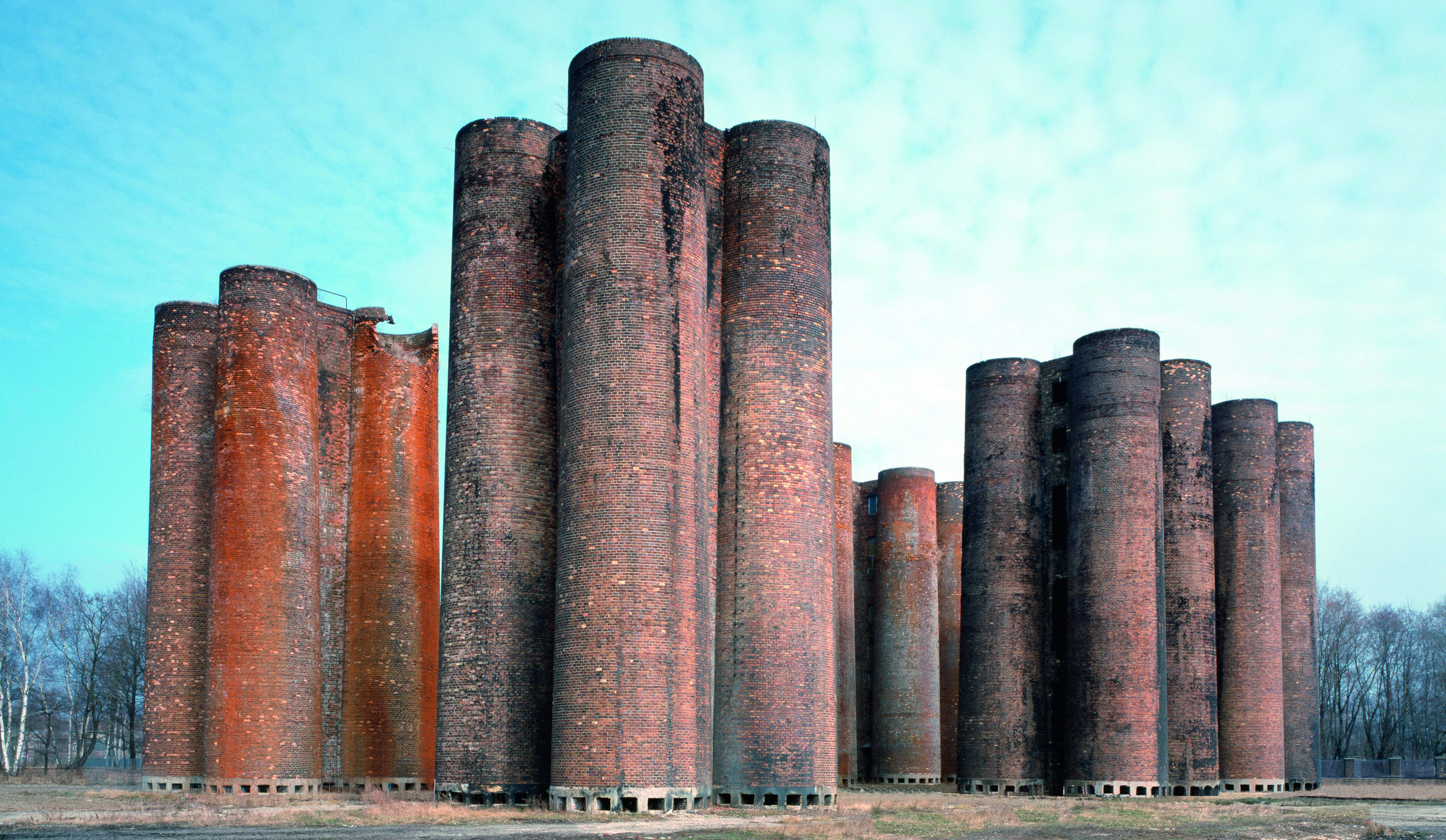 "A photograph featured in Phaidon's book ""Brick"" of Lauchhammer bio-towers, Lauchhammer, Germany, 1958. (Bildarchiv Monheim GmbH / Alamy)"