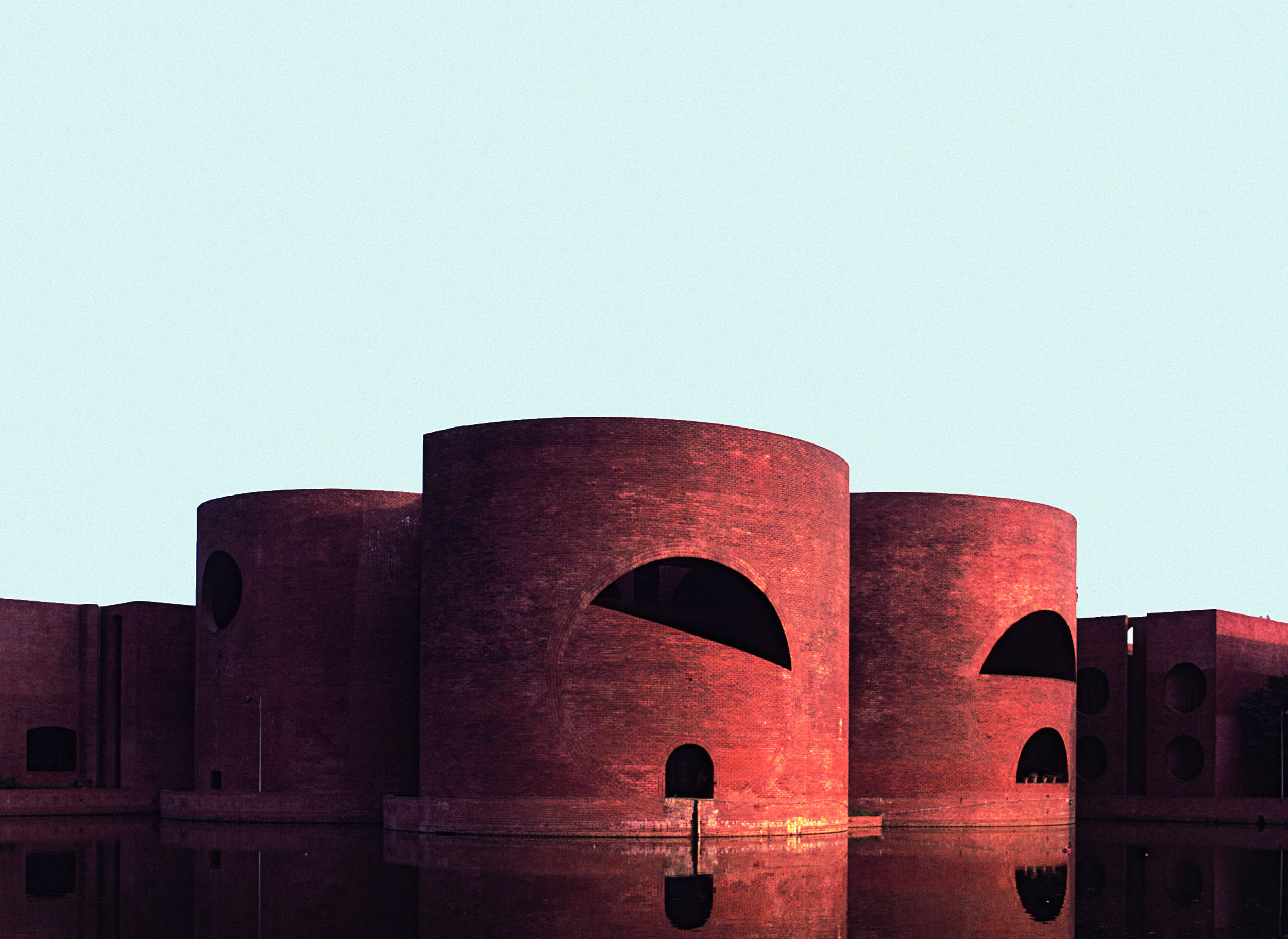 "A photograph featured in Phaidon's book ""Brick"" of National Assembly Building, Dhaka, Bangladesh, 1982, Louis I. Kahn. (Bernard O'Kane / Alamy)"